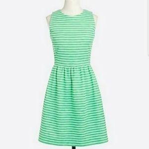 J. Crew Green Striped Daybreak Dress Sz M